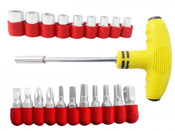 1525 21 pcs T Shape Screwdriver Set Batch Head Ratchet Pawl Socket Spanner Hand Tools - DeoDap
