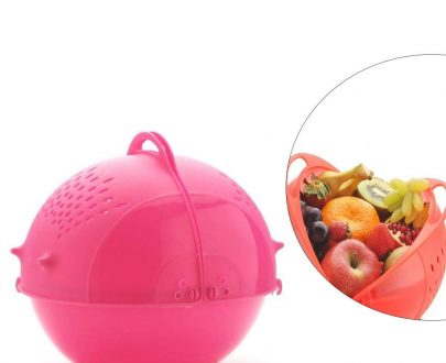 2145 DeoDap Plastic Revolving Multi Functional Rice, Vegetable Fruit Wash Basket Bowl (Multi Colour) - DeoDap