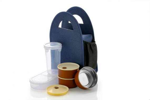 0128 Steel Lunch Box Set (4 pcs, Black) - DeoDap