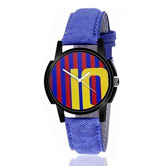 1802 Unique & Premium Analogue Watch 10 Messi Print Multicolour Dial Leather Strap (Watch 2) - DeoDap