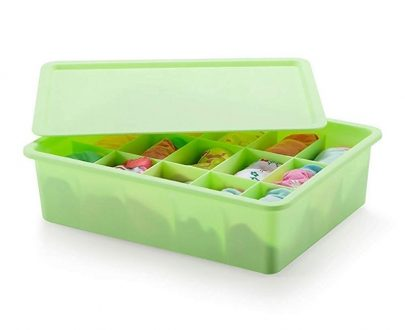 15 Grid Plastic Socks Organiser With Lid