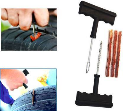1513 Puncture Repair Kit Tubeless Tyre Full Set with Nose Pliers, Rubber Cement and Extra Strips for Cars, Bikes - DeoDap