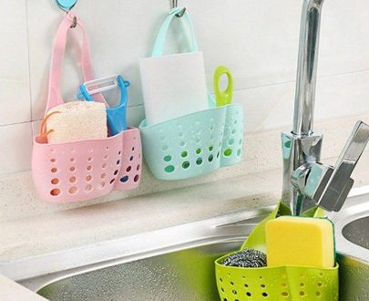 0762 Adjustable Kitchen Bathroom Water Drainage Plastic Basket/Bag with Faucet Sink Caddy - DeoDap