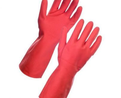 0661 - Flock line Reusable Rubber Hand Gloves (Red) - 1pc - DeoDap