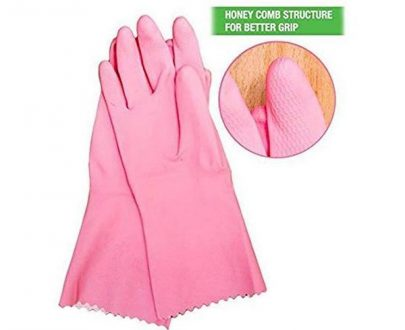 0655 - Cut Glove Reusable Rubber Hand Gloves (Pink ) - 1 pc - DeoDap