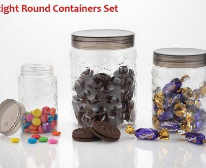 0598 3pcs Stone Jars Set (Big 1200ml, Medium 600ml & Small 250ml size) - DeoDap