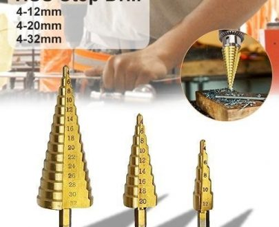 0437 -3X Large HSS Steel Step Cone Drill Titanium Bit Set Hole Cutter (4-32, 4-20, 4-12mm) - DeoDap
