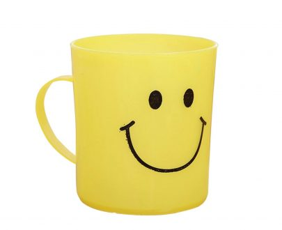 0744 Unbreakable Plastic Coffee-Milk Fancy Smiley Mug - DeoDap