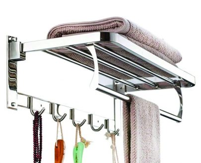 0491 Stainless Steel Folding Towel Rack Cum Towel Bar 18 Inch - DeoDap