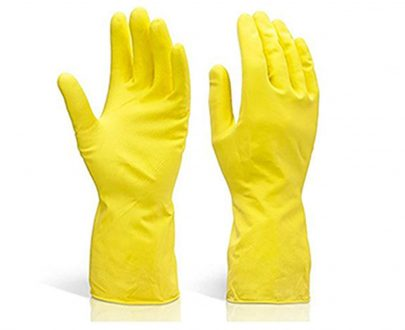 0662 - Flock line Reusable Rubber Hand Gloves (Yellow 2 tone) - 1pc - DeoDap