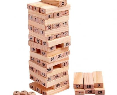 3903 54 Pieces Wooden Stacking Tower Numbers Building Blocks Game Board for Kids - DeoDap