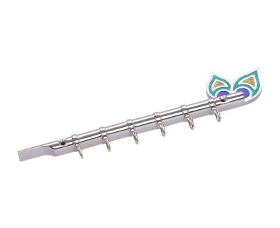 """0317 Flute Shape Stainless Steel Key Holder Stand ( Chrome Antique Finish, 9"""" X 2"""", Silver) - DeoDap"""