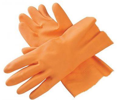 0654 - Cut Glove Reusable Rubber Hand Gloves (Orange) - 1 pc - DeoDap