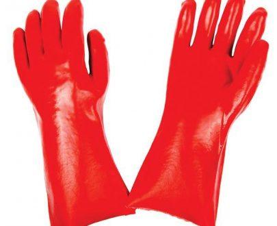 0651 - Cut Glove Reusable Rubber Hand Gloves (Red) - 1 pc - DeoDap