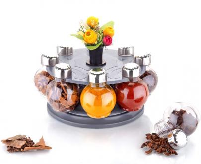 0745 Multipurpose Revolving Plastic Spice Rack Set (8 pcs) - DeoDap