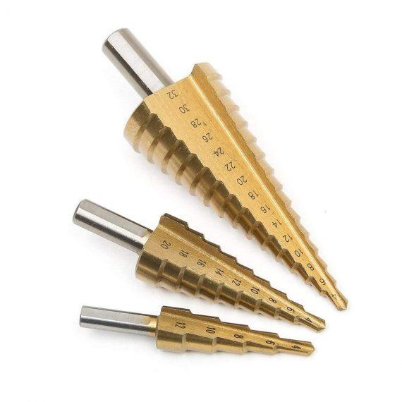 0437 -3X Large HSS Steel Step Cone Drill Titanium Bit Set Hole Cutter (4-32, 4-20, 4-12mm) - DeoDap