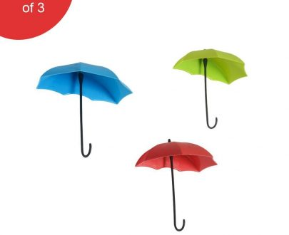 0486_3pcs/set Cute Umbrella Wall Mount Key Holder Wall Hook Hanger Organizer Durable Wall hooks bathroom kitchen Umbrella Wall Hook - DeoDap