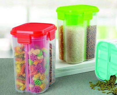 0763 Transparent 4 Section Storage Dispenser (2000 ml) - DeoDap