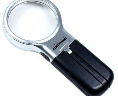 0528 Multifunctional 3-in-1 Hand-Held Folding Lighted High-Powered Magnifier Glass with 3X Zoom and 2 LED Lights - DeoDap