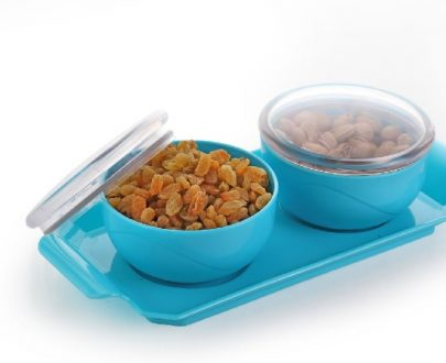 2 Pcs Dry Fruit Air Tight Bowl with Tray