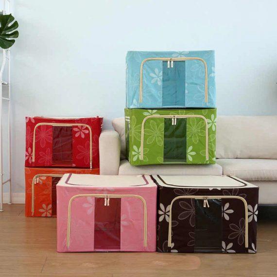 22L Oxford Fabric Saree Storage Box (Random Colors)