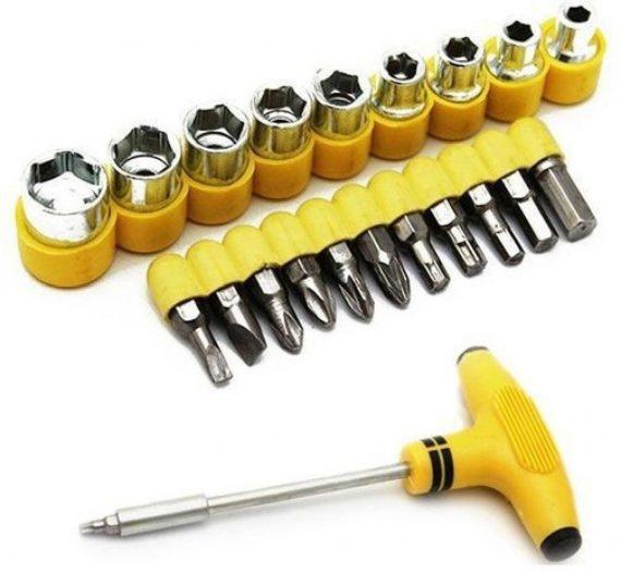 0451 -24pcs T shape screwdriver set Batch Head Ratchet Pawl Socket Spanner hand tools - DeoDap