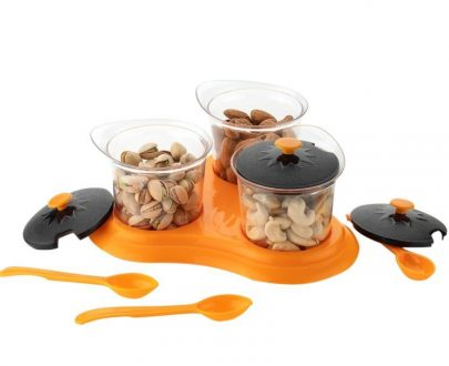 0609 Multipurpose Dining Set Jar and tray holder, Chutneys/Pickles/Spices Jar - 3pc - DeoDap
