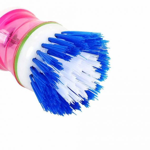 0159 Plastic Wash Basin Brush Cleaner with Liquid Soap Dispenser (Multicolour) - DeoDap