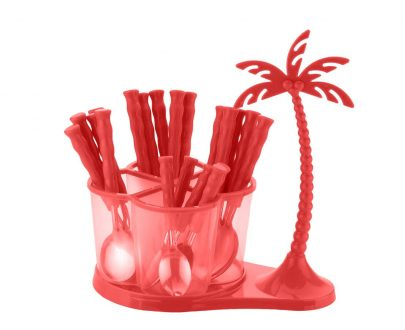 0111 Dining/Cutlery Set with Coconut Tree Design stand(24pcs) - DeoDap