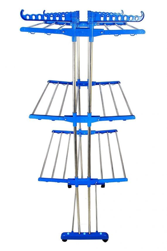 0733 Stainless Steel Double Pole 3 Layer Cloth Drying Stand - DeoDap