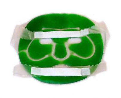 0402 Plastic Reusable Anti Stress Cooling Gel Face Mask with Strap-on Velcro (Green) - DeoDap