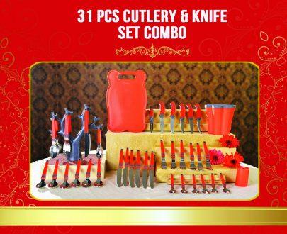 2043 Kitchen Combo 31 Pcs Cutlery & Knife Set - DeoDap