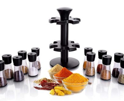 0095 Revolving Plastic Spice Rack Masala Organiser (12 pcs ) - DeoDap