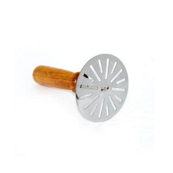 0064 Stainless Steel Potato Masher, Pav Bhaji Masher with wooden handle - DeoDap