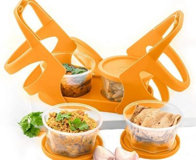0170 Lunch Box (200 ml each Container) with Attractive Stand - 4 pcs - DeoDap