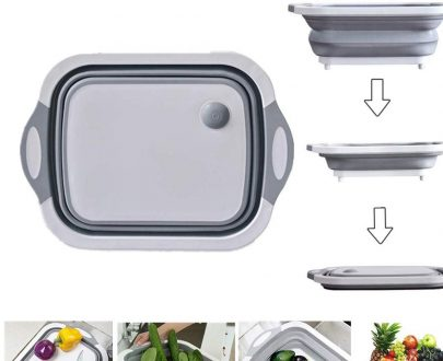 0098 Foldable Chopping Board, Dish Rack, Washing Bowl & Draining Basket, 3in1 Multi-Function - DeoDap