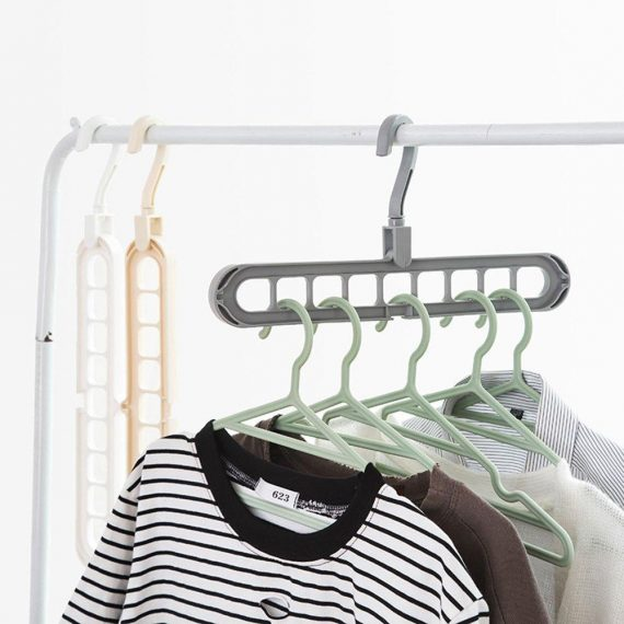 0238 9 Hole Plastic Hanger Hanging hook Indoor Wardrobe Clothes Organization Storage Balcony Windowsill Suit Racks - DeoDap
