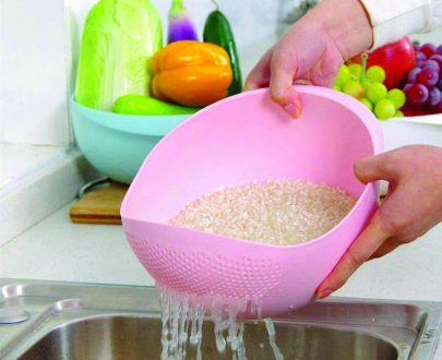 0108 Kitchen Plastic big Rice Bowl Strainer Perfect Size for Storing and Straining - DeoDap