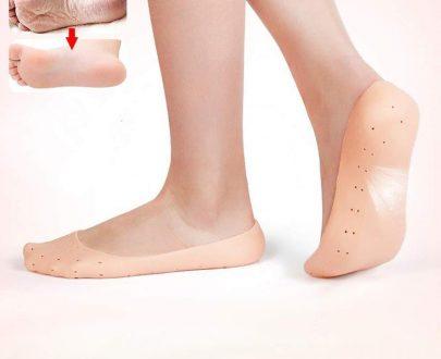 1207 Anti Crack Full Length Silicone Foot Protector Socks/Pads for Foot-Care and Heel Cracks - DeoDap