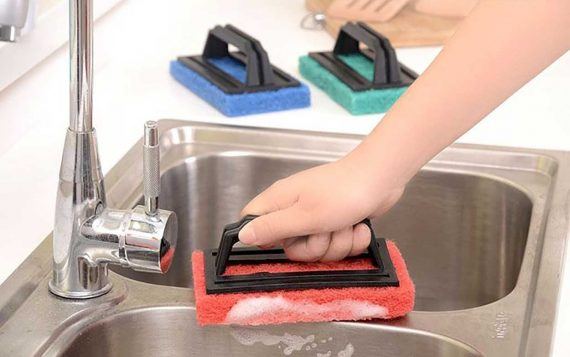 0222 Tile cleaning multipurpose scrubber Brush with handle - DeoDap