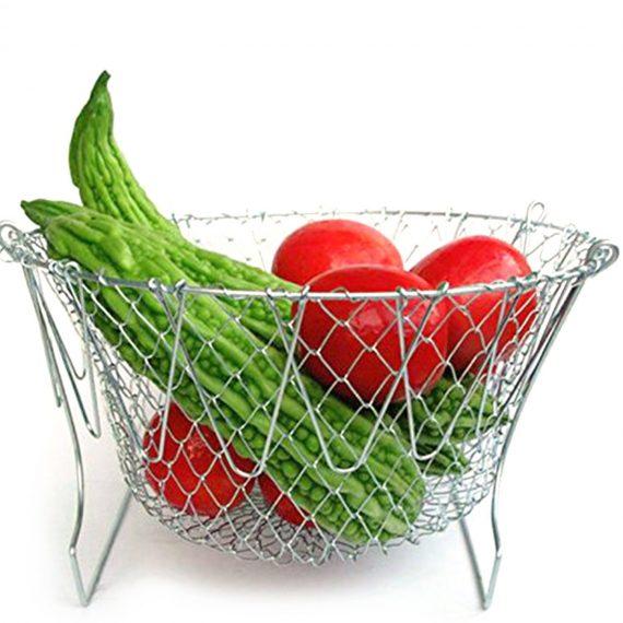 0139 Foldable Strainer Chef Basket - DeoDap