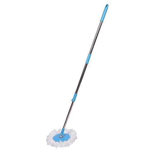 1530 Heavy Duty Microfiber Spin Mop with Plastic Bucket & Rotating Steel Pole Head - DeoDap