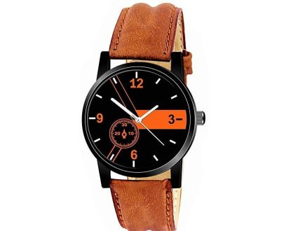 1811 Unique & Premium Analogue Watch Black and Orange Print Multicolour Dial Leather Strap (Watch 11) - DeoDap