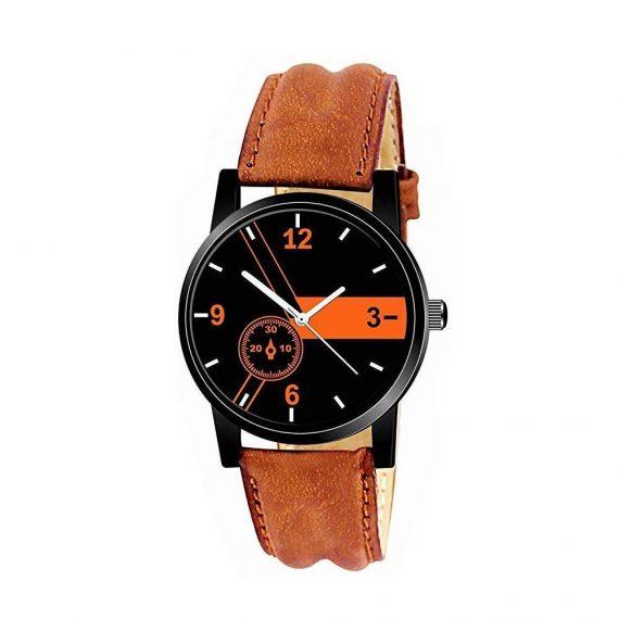 1811 Unique & Premium Analogue Watch Black and Orange Print Multicolour Dial Leather Strap (Watch 11) - DeoDap