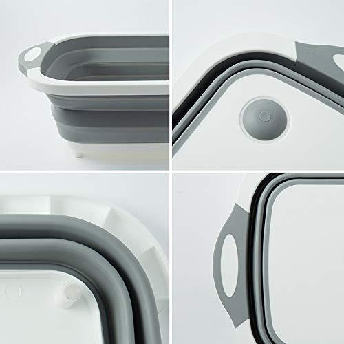 0098 Foldable Chopping Board, Dish Rack, Washing Bowl & Draining Basket, 3in1 Multi-Function - DeoDap