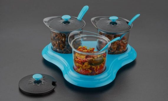 0609 Multipurpose Dining Set Jar and tray holder, Chutneys/Pickles/Spices Jar - 3pc - DeoDap
