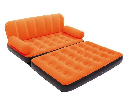 0870 -5 in 1 Foldable Inflatable Multi Function Double Air Bed Sofa Chair Couch Lounger Bed Mattress with Air Pump - DeoDap