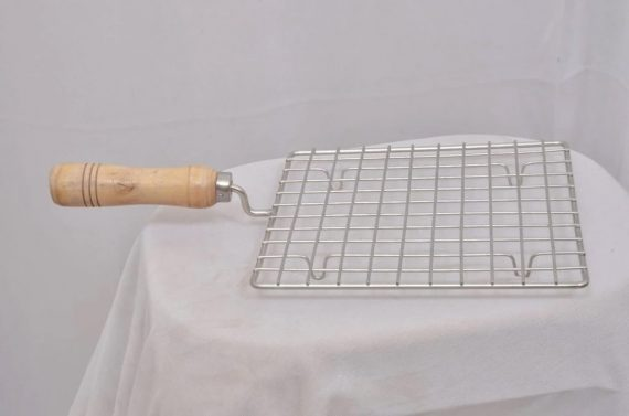 2086 Kitchen Square Stainless Steel Roaster Papad Jali, Barbecue Grill with Wooden Handle - DeoDap