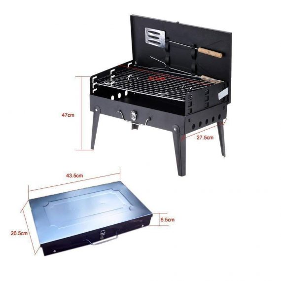0125 Stainless Steel Briefcase Style Barbecue Grill Toaster (Medium, Black) - DeoDap