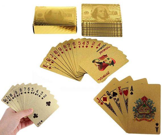0523 Gold Plated Poker Playing Cards (Golden) - DeoDap